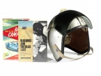 Donald Campbell helmet from the 1964 Land Speed record 403 mph. From the late Leo Villa collection.