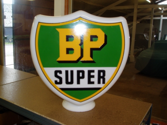 BP Super Shield c1950 glass petrol Globe SOLD