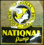 c1940 National Benzole Pump enamel sign