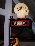 incredibly rare double sided wall mount Shell pump indicator c1925