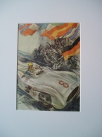 Rare original untitled template poster for Mercedes Benz by Hans Liskars A4 mounted 45x35cm £350