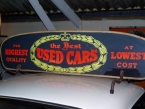 c 1960 rare hand painted used car sales roof sign