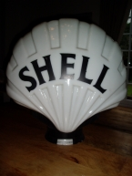 "Original Shell "" FAT BLACK "" glass pump globe SOLD"