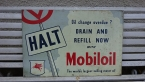 Unusual Mobiloil aluminium pictorial sign from about 1960