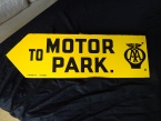 c1950 AA Motor Park arrow indicator double sided enamel by Franco signs London. As new and never hung.