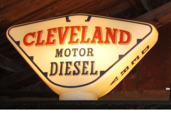 c1955 Cleveland Motor Diesel glass pump globe SOLD