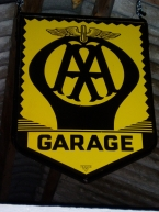 c1950 hanging double sided AA Garage shield in pristine condition NOW SOLD
