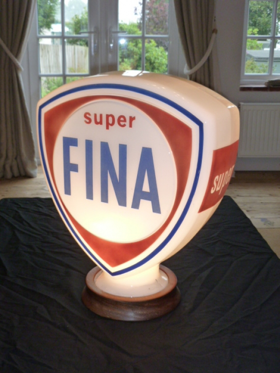 c1960 Original Glass Fina Super pump globe. Has a repair to lower neck base £595