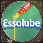 Essolube pictorial 2 sided enamel roundal