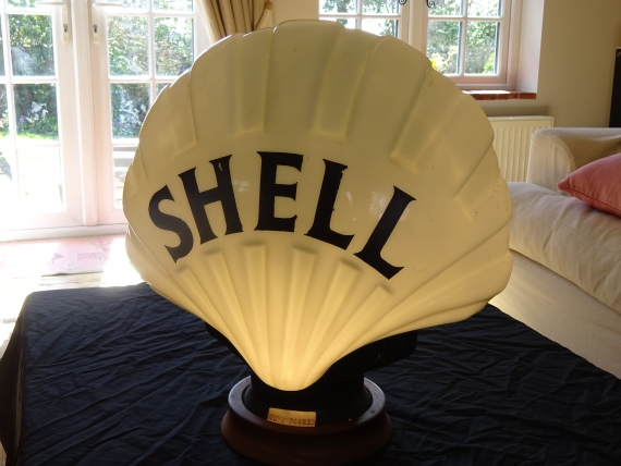 "c1930 original Shell ""FAT BLACK"" glass pump globe by Chance Brothers in outstanding condition"