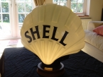 "c1930 original Shell ""FAT BLACK"" glass pump globe by Chance Brothers in fabulous condition"