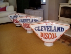A petrol island of original cleveland Dicol pump globes c1940  NOW SOLD