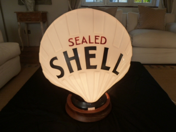 Incredibly rare Sealed Shell small fat black glass petrol globe c1930