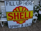 "1930 rare Shell "" fill up here"" enamel sign 48x48"