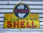 Fabulous Stop Shell double sided oil cabinet enamel sign c1925 £950
