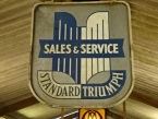 c1950 Standard Triumph dealership shield in alloy with original paint